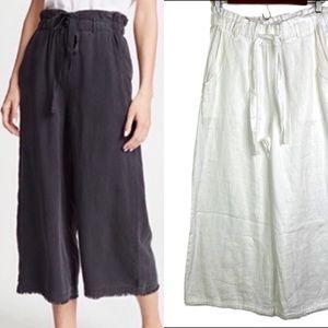 🆕 Cloth & Stone White Linen Raw Hem Wide Leg Pant